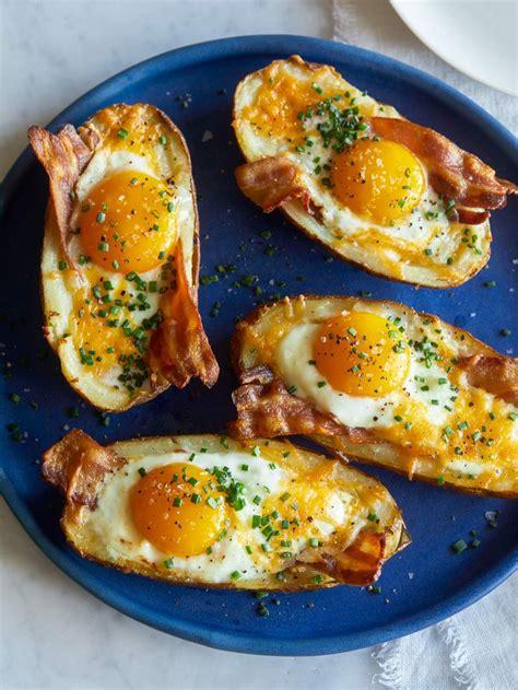 baked breakfast twice baked breakfast potatoes spoon fork bacon