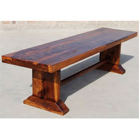 solid wood rustic trestle indoor outdoor garden backless bench furniture