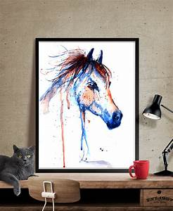 horse art horse decor watercolor horse painting wall art With horse wall art