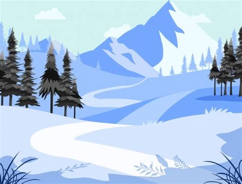 mountain landscape background winter snow theme cartoon