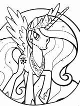 Coloring Princess Celestia Pages Pony Little sketch template