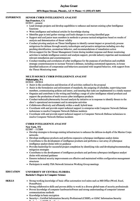 Intelligence Analyst Resume by Cyber Intelligence Analyst Resume Sles Velvet