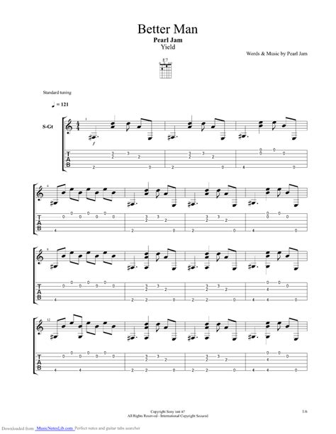 Better Man Guitar Pro Tab By Pearl Jam @ Musicnoteslibcom