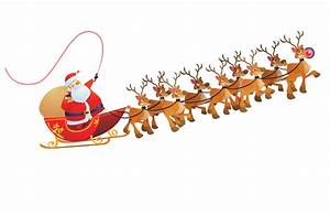 Santa Sleigh Reindeer Png