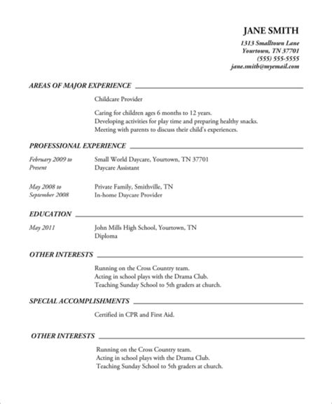 Chronological Resume Exle High School high school resume exle 8 sles in word pdf