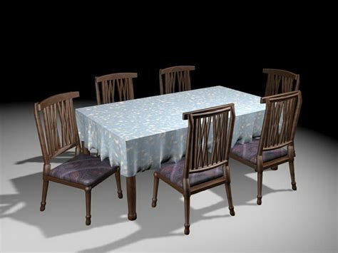 Classic Dining Room Furniture 3d Model 3ds Max Files Free