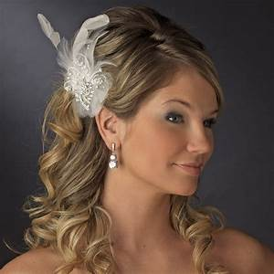 Charming Silver Clear Rhinestone Feather Bridal Hair Clip