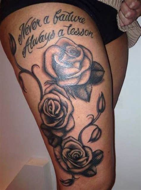 woman thigh tattoo rose font tattoo tattooed tattoos