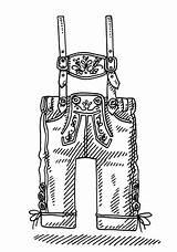 Lederhosen Drawing Vector Bavarian Clothing Istock Clip Mens Illustration Illustrations Istockphoto sketch template