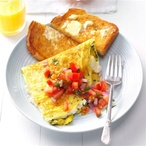 breakfast recipes cream cheese chive omelet recipe taste of home