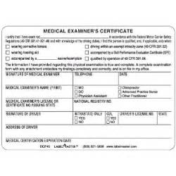 Dot Medical Examiners Certificate Card