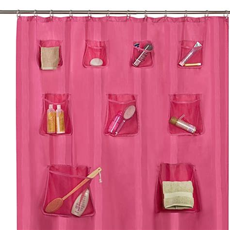shower curtain with pockets mesh pocket 70 quot w x 72 quot l fabric shower curtain with set