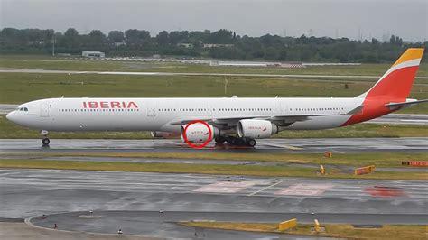 Iberia Airbus A340 600 landing at Düsseldorf International
