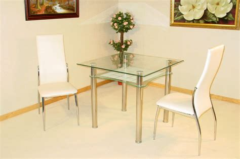small 6 person dining jazo clear and frosted glass table and 2 dining chairs 1635