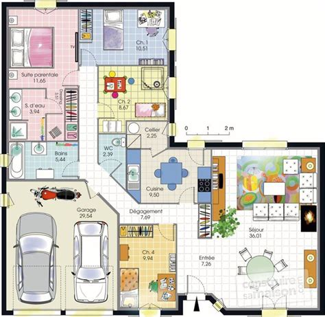 les 3 chambres maison de plain pied dé du plan de maison de plain