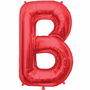 letter b 34 inch foil balloon With red mylar letter balloons