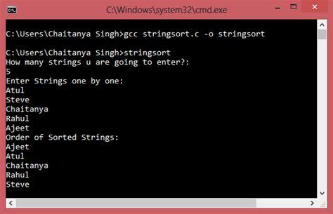 program  sort set  strings  alphabetical order