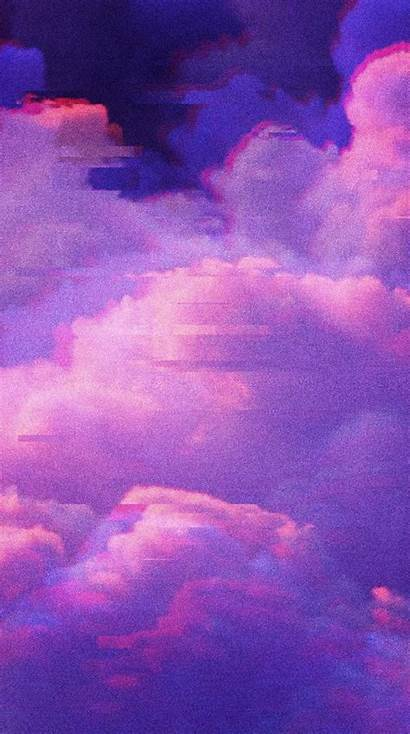 Aesthetic Glitch Wallpapers Clouds Purple Backgrounds Aesthetics