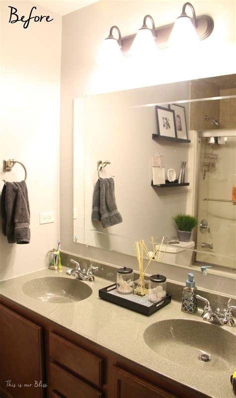 simple bathroom vanity light fixture update