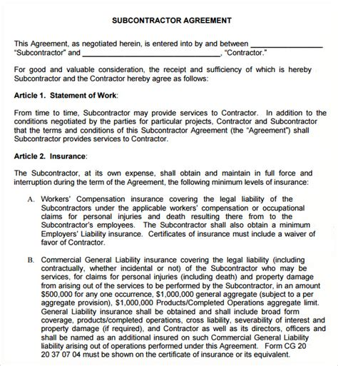 Subcontractor Contract Example