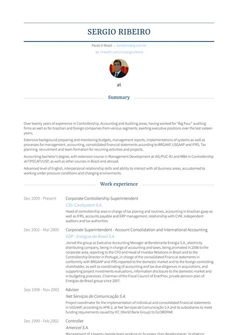 Corporate Resume Builder by Corporate Controller Resume Sles Templates Visualcv