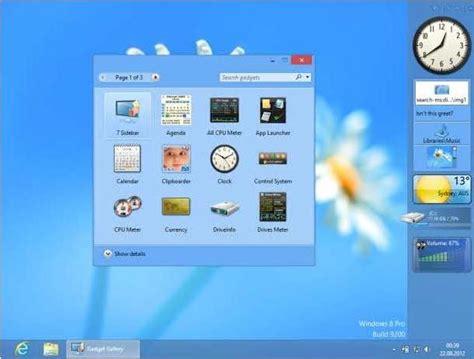 image bureau windows 8 des gadgets de bureau pour windows 8 8gadgetpack