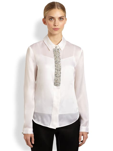 beaded blouse st beaded silk organza blouse in white lyst