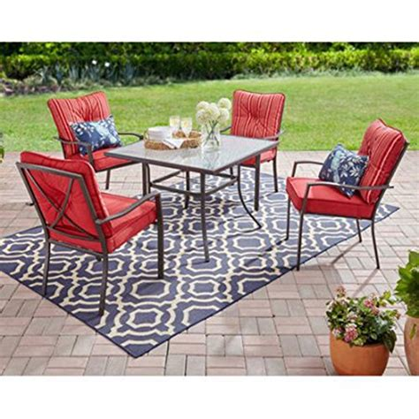 mainstay patio furniture company mainstays forest 5 dining set with cushioned