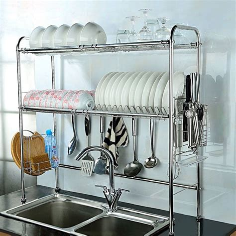 tier durable stainless steel dish drying shelf drainer rack cutlery holder declutter kitchen