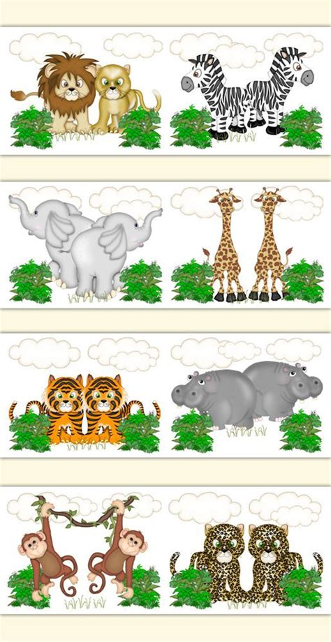 Safari Animal Wallpaper Borders - safari animal wallpaper border wall decals jungle zoo baby