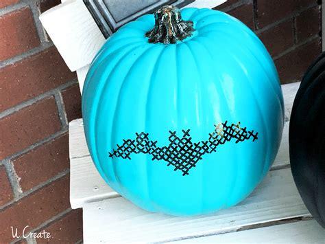 diy paint stitched pumpkins