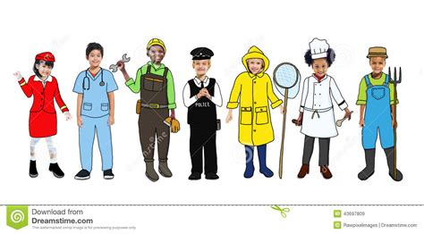 Group Of Happy Children And Dream Job Concepts Stock Image