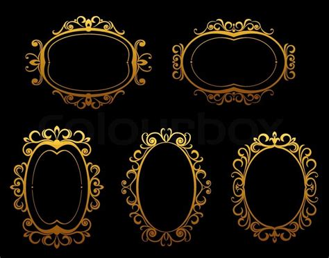 set  golden vintage frames  borders  victorian