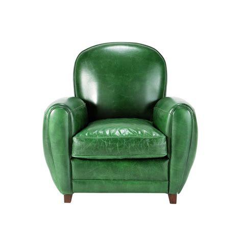 fauteuil cuir vert vintage oxford maisons du monde