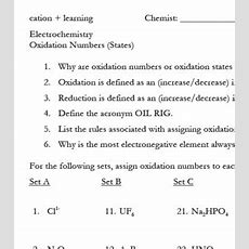 Oxidation Numbers By Cation Learning  Teachers Pay Teachers