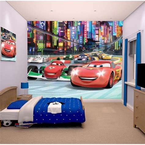 chambre flash mcqueen cars papier peint enfant fresque murale décorative flash