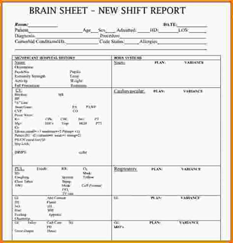 Nursing Shift Report Sheet Template