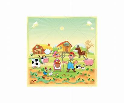 Farm Farmer Vector Cartoon Animals Illustration Wife