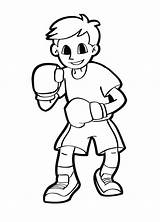 Boxing Boy Coloring Gloves Wearing Printable Pages sketch template