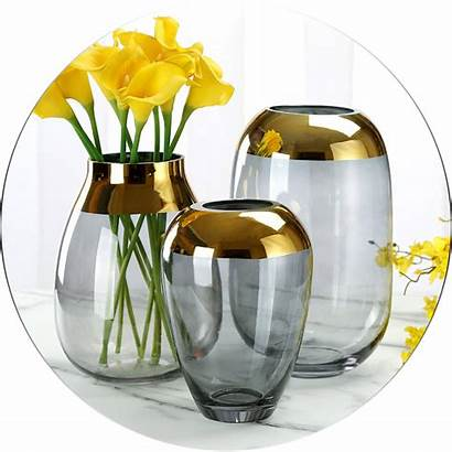 Glass Colored Luxury Flower Vase Decoration
