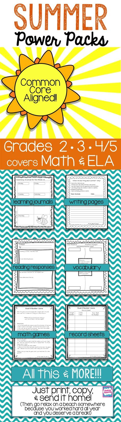 printable summer review packets common math and