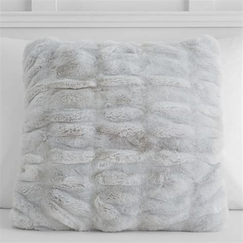 gray fur pillow ruched gray faux fur pillow cover pbteen
