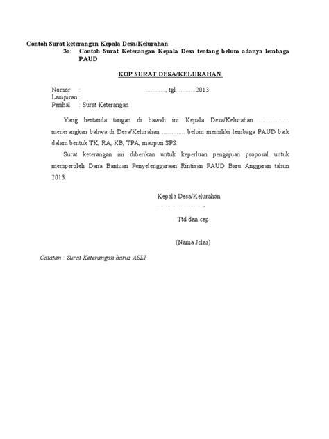 contoh surat keterangan banjir  kelurahan berbagi