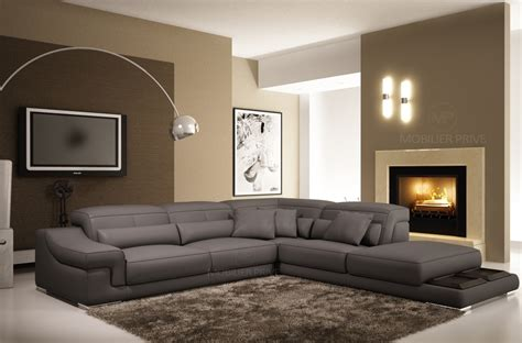 canape angle cuir gris canap mobilier privé