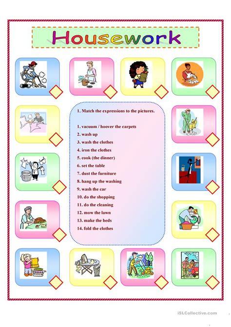 housework  exercises  pages  key worksheet