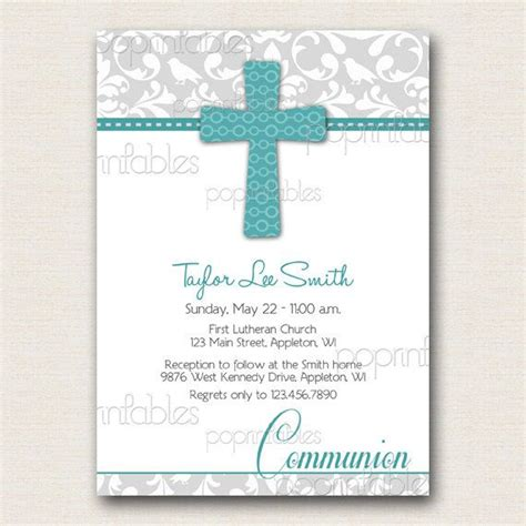 Baptism or First Communion Invitation Damask Grey