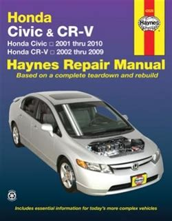 free car repair manuals 1998 honda civic security system haynes repair manual for honda civic and cr v covering the civic 2001 thru 2010 and cr v 2002