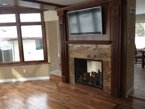 sided fireplace  space separation home ideas