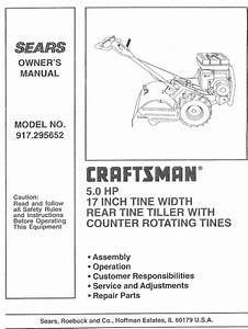 Craftsman 917295652 User Manual Rear Tine  Gas Tiller