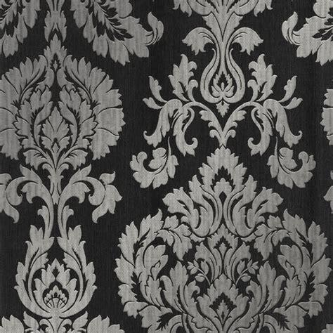 classics large damask wallpaper black silver wallpaper